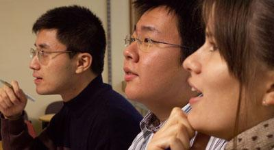 Students listening in a seminar class