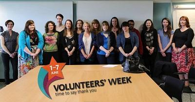 Our volunteers for a group photo on a presentation day during Volunteers Week