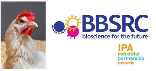 Image of the Biotechnology and Biological Sciences Research Council logo, Industrial Partnership Awards logo, and a chicken