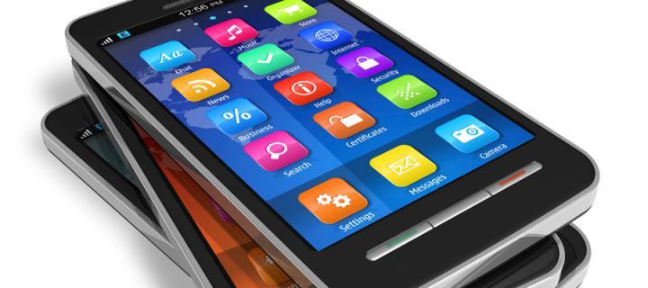 A stack of smartphones