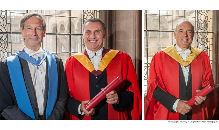 Doctors Brown and Kanellos with their honorary degrees