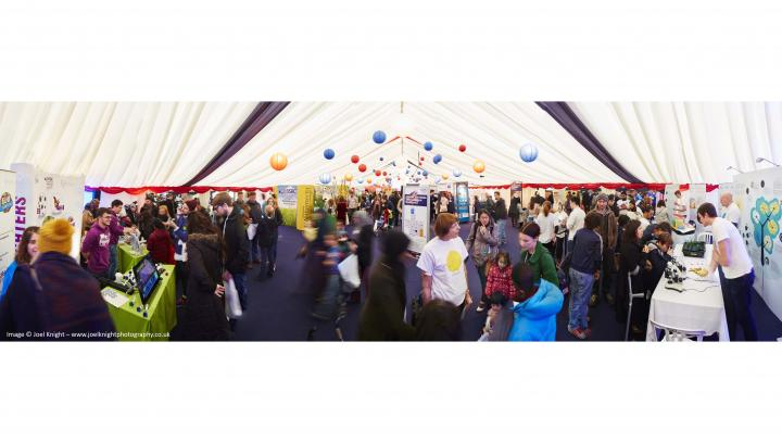 Panorama shot of a crowd at the Great British Bioscience Festival