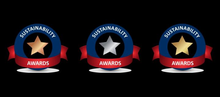 Bronze, silver, and gold sustainability award logos