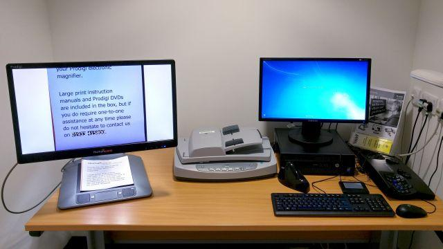 Accessible Study Room 3, Main Library, with Humanware Prodigi magnifier and reader, document feed scanner, trackpad, ergonomic k