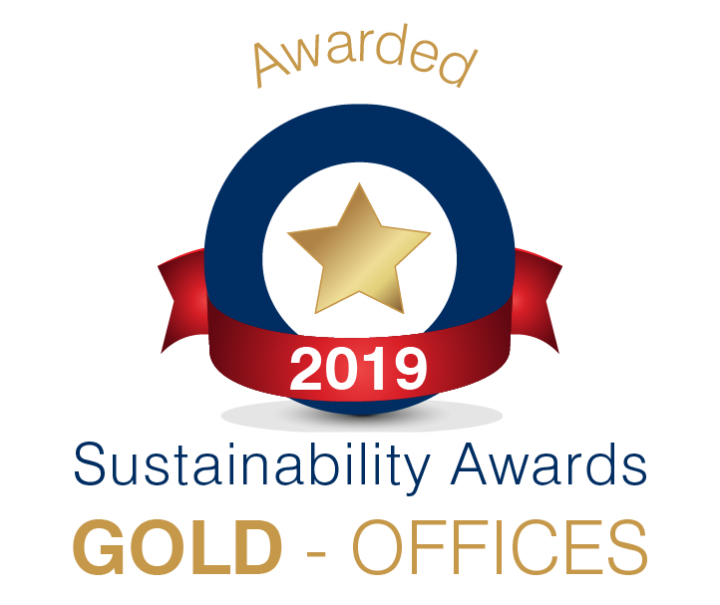 Gold office sustainability award badge