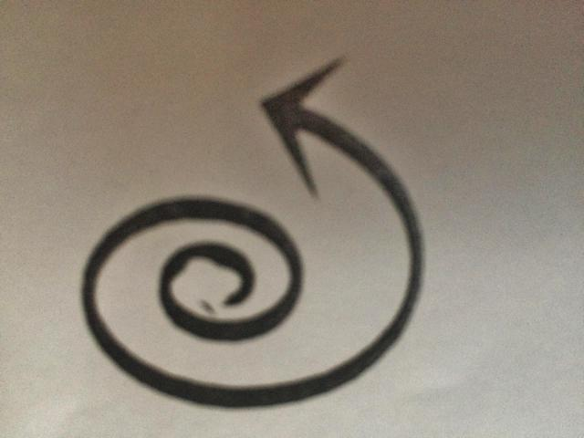 Illustration of the life-giving spiral - a spiral with an arrow on the end of it pointing left