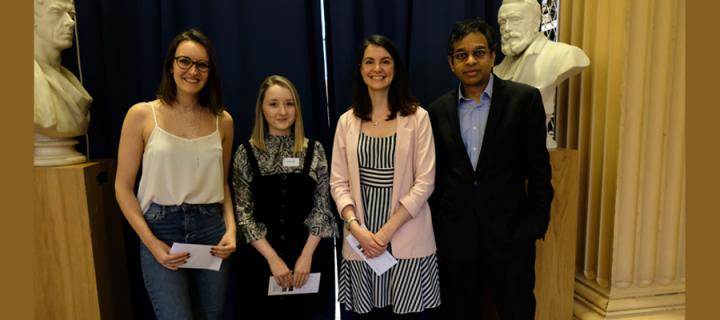 Winners of the 2020 CCBS Three Minute Thesis competition Beth Waddington, Emily Ball and Shalandra Wood, with Prof Siddharthan Chandran