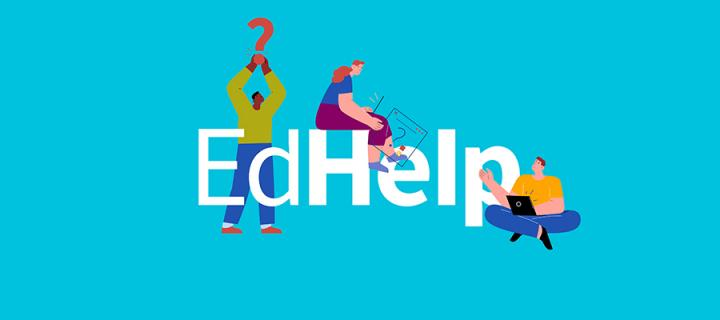 Image with blue background and text Edhelp with figures