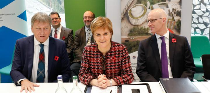 Professor Peter Mathieson with First Minister Nicola Sturgeon and Deputy First Minister John Swinney