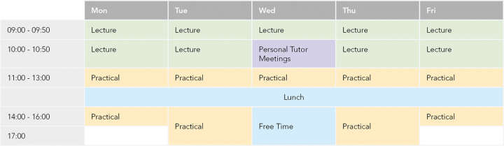Example of a 5 year timetable