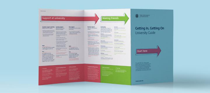 "Front cover of the ""Getting in, getting on"" guide"