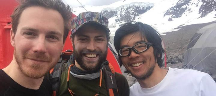 Alumni trio at Aconcagua Base Camp