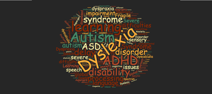word cloud of research interestst for SMC Research Centre for Learning Difficulties