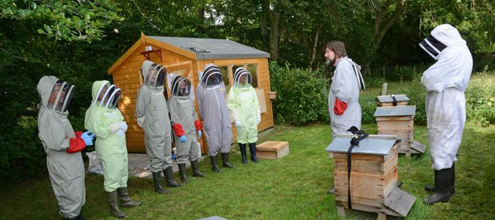 Members of the public wearing bee suits visit the Easter Bush Campus Apiary