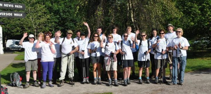 group of people about to climb Ben Nevis for charity