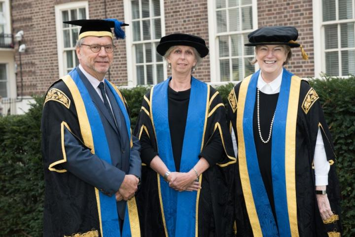 Professor Eleanor Riley with Professor Peter Piot, LSHTM Director, and Dame Marjorie Scardino, Chair of Council LSHTM.