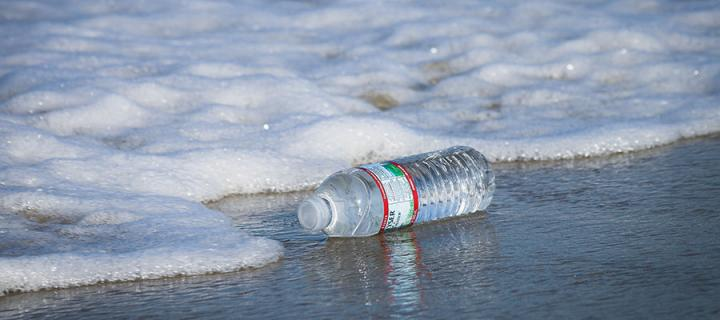 Plastic bottle with sea
