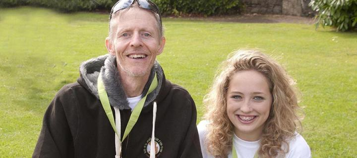 Photograph of teacher Mr G and fundraiser Brynja