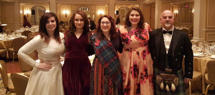 Five guests pictured at the 2017 Alumni Burns Supper in Washington DC