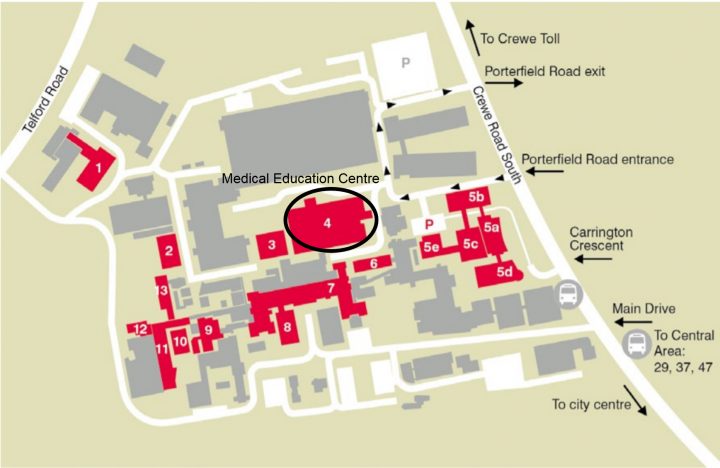 WGH campus map with Medical Education Centre