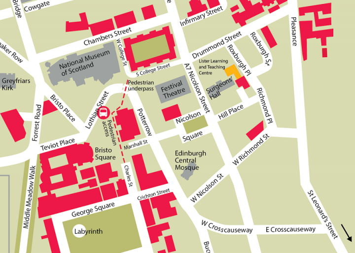 Map showing location of Lister Learning and Teaching Centre