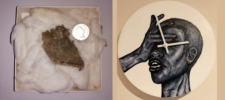 A piece of woolly mammoth in a padded box and a clock with a painting of a person holding their palm to their face.