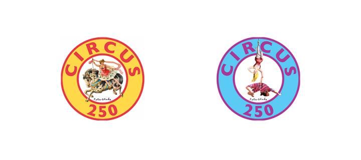 Two versions of the Circus250 logo showing an acrobat and a horse.