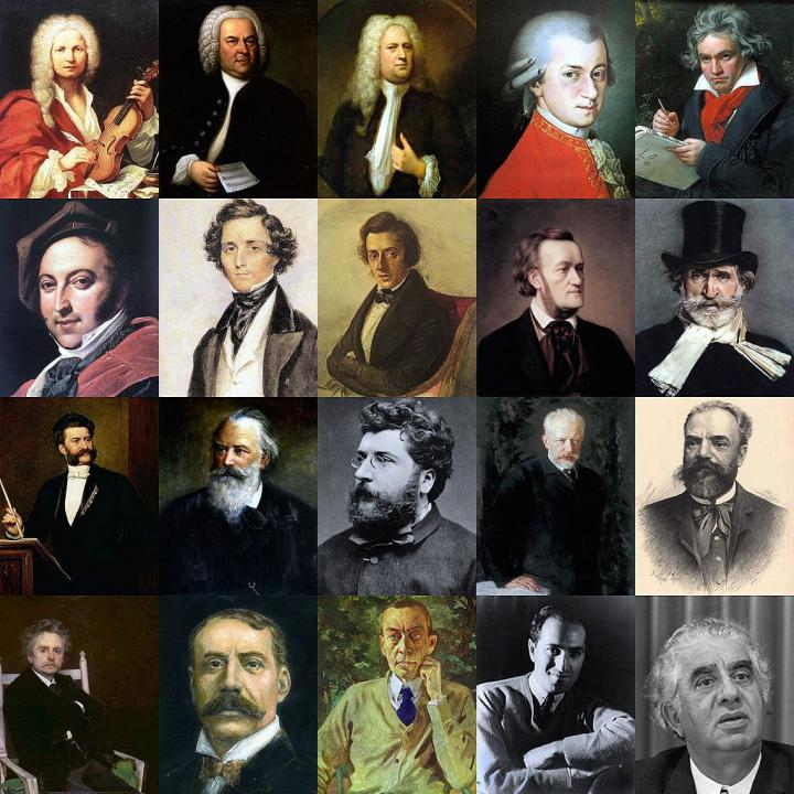 A montage of European classical composers, all men