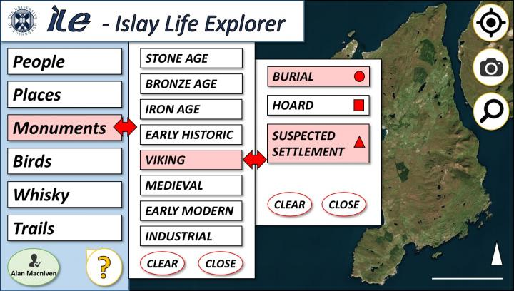 Concept sketch number 1 for the Islay Life Explorer user interface