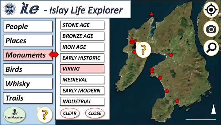 Concept sketch number 2 for the Islay Life Explorer user interface