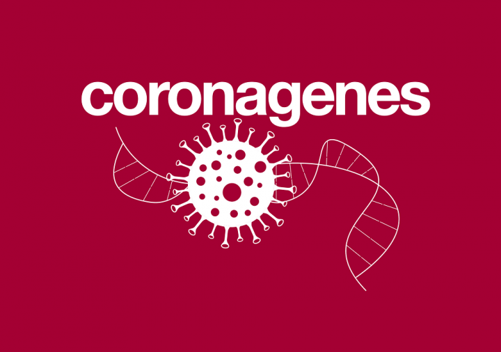white Coronagenes logo on a ruby red background
