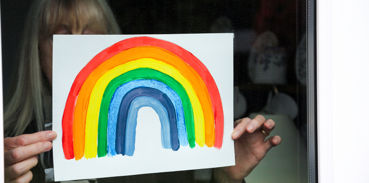 rainbow painting in window