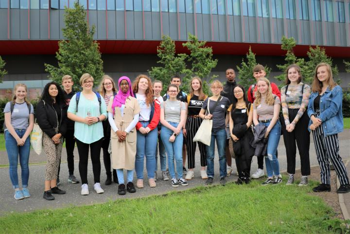 Science Insights pupils outside the Centre for Regenerative Medicine