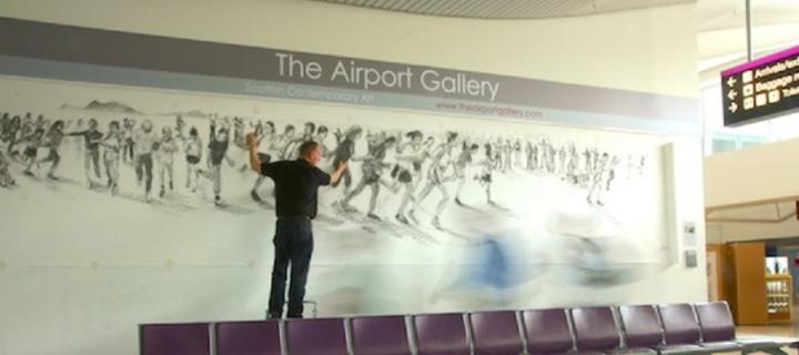 Damian Callan demonstrating at Edinburgh Airport