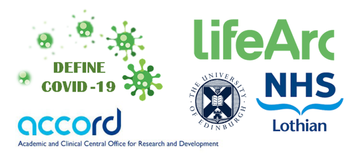 Logos of DEFINE collaborators, including LifeArc, NHS Lothian and Accord.