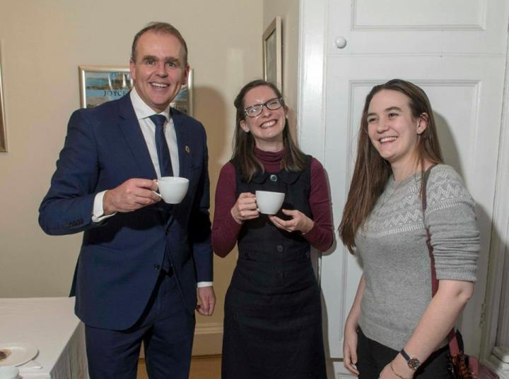 Minister Joe McHugh, T.D., Sophie Cooper and Roseanna Doughty