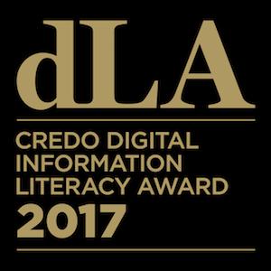 Gold lettering on black background, reads: dLA Credo Digital Literacy Award 2017