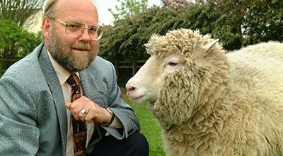 Photo of Professor Sir Ian Wilmut and Dolly the Sheep