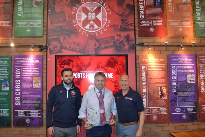 Image of Sports Union President Paul Duffy, Principal and Vice-Chancellor Professor Peter Mathieson, and Director of Sport Jim Aitken MBE