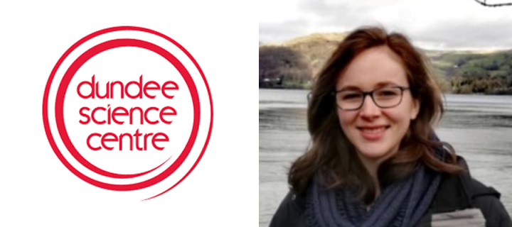 A picture of Susanna Riley and the Dundee Science Centre logo