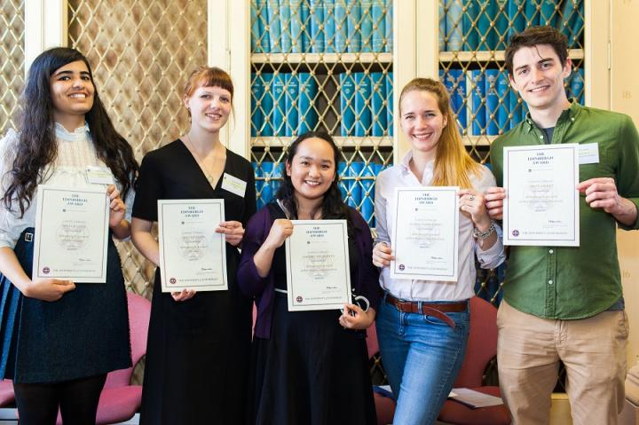 A few students with their certificates of completion in 2017.