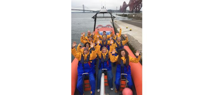 EDI postgraduate students enjoy a boat trip on the river forth