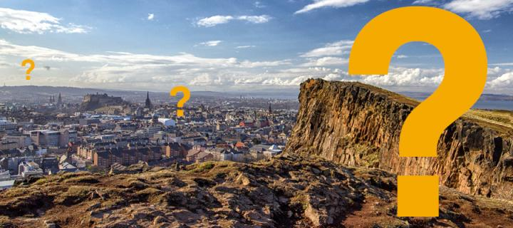 Edinburgh view from the Crags with questions marks overlaid