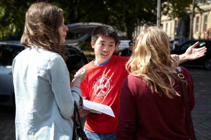 Edinburgh University student ambassador at university open day