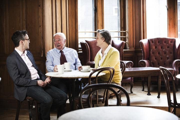 Photo of Dr Chris Harding, Jo Hockley and Norman Stewart in the New Amphion cafe