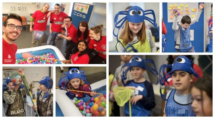 A photo collage showing CIR members playing Amazing Immunology with children at the science festival.