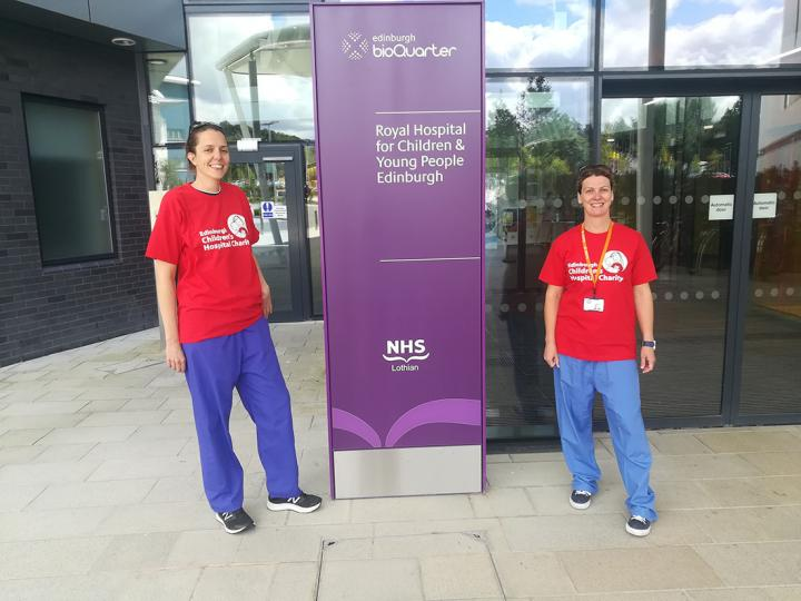 Edinburgh Imaging RIE radiographers, Lucy (left) & Maddy (right), outside the Royal Hospital for Children & Young People Edinburgh.