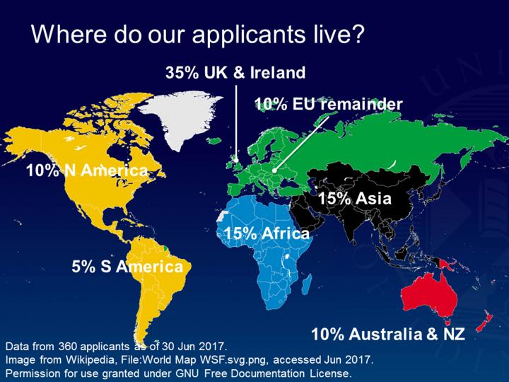 Edinburgh Imaging Academy applicant domiciles by region 2017