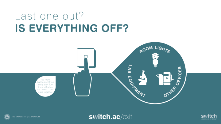 Last one out? Is everything off? Remember to switch off room lights, lab equipment and other devices. www.switch.ac/exit