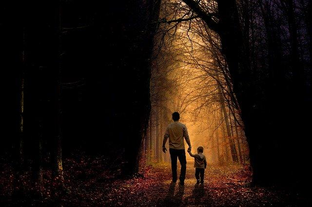 Father with son in the woods